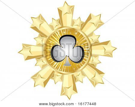 (raster image of vector) golden casino banner-clover