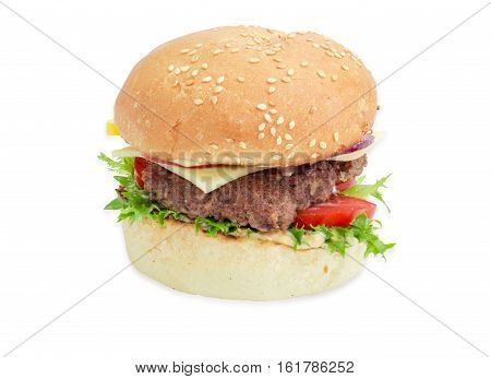 Cheeseburger with beef patty cheese vegetables and condiments on a light background