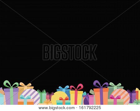 Black Background With Colorful Ribbon Gift Box Footer