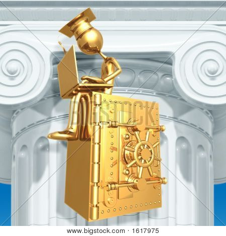 Golden Grad On Bank Safe With Laptop Graduation Concept