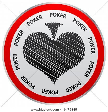 (raster image of vector) poker heart