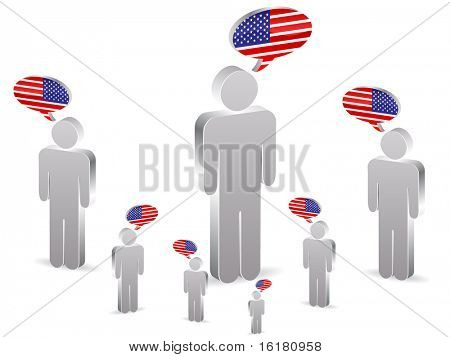 (raster image of vector) group of american people