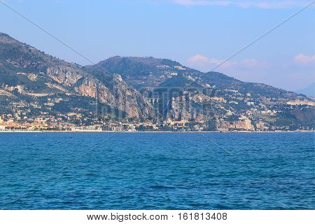 Beautiful sea view of Menton on the French Riviera (Provence-Alpes-Cote d'Azur) border of France and Italy