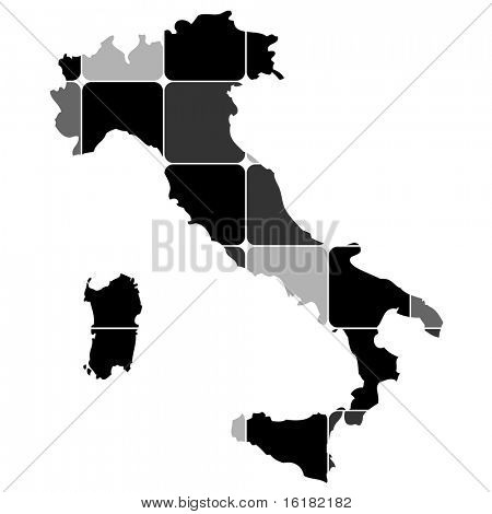 (raster image of vector) map of italy