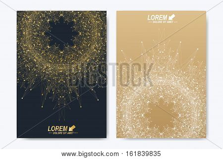 Modern vector template for brochure leaflet flyer cover catalog magazine or annual report. Golden layout in A4 size. Business, science and technology design book layout. Presentation with mandala