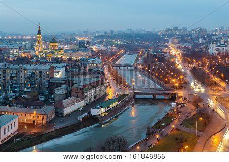 Top view of the Annunciation Cathedral, Zalopan district and center of Kharkiv. Lopan Bridge, Kupecheskiy Bridge, Bursatsky bridge over the river Lopan.