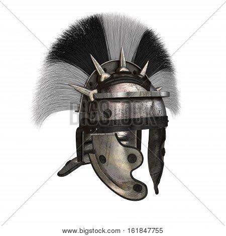 Roman legionary helmet on an isolated white background.
