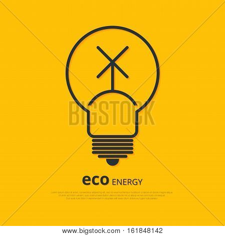 Yellow outline bulb with wind power station as logo with copyspace on orange background. Idea of eco-friendly source of energy
