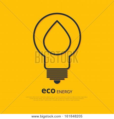 Yellow outline bulb with drop as logo with copyspace on orange background. Idea of eco-friendly source of energy