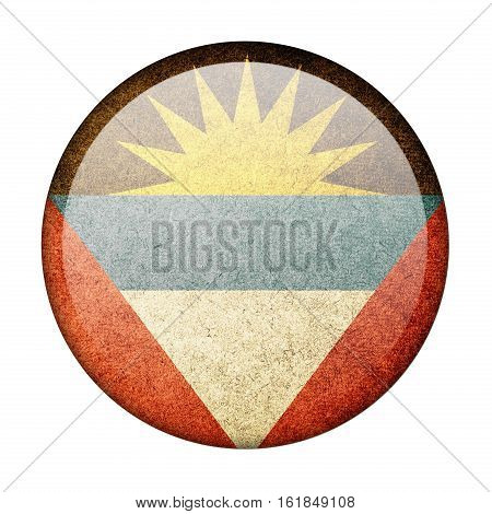 Antigua and Barbuda button flag  isolate  on white background,3D illustration.