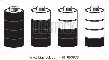 Vector 3d battery set. Charged and discharged power sources. Isolated on white background, greyscale palette.
