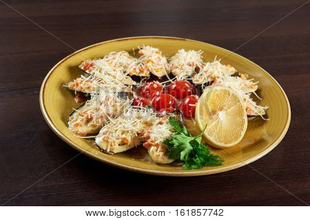 Seafood love. Closeup of shellfish mussels with cheese sauce