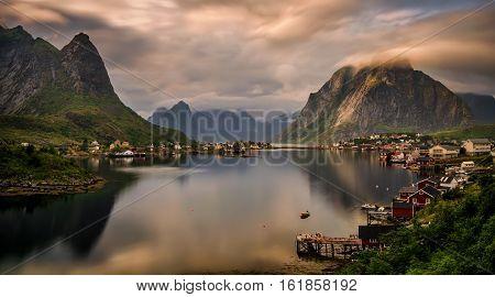 Reine village and fjord among mountains of Moskenesoya Lofoten