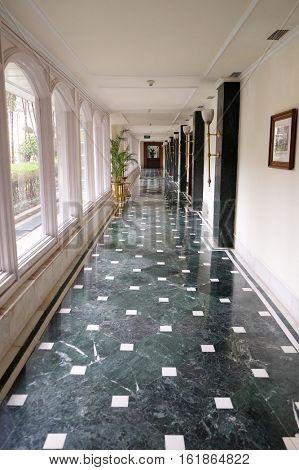 KOLKATA, INDIA - FEBRUARY 09:  Oberoi Grand Hotel formerly known as the The Grand Hotel, is situated in the heart of Kolkata on Jawaharlal Nehru Road, on February 09, 2016 in Kolkata, India.