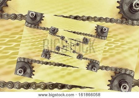 Collage of cogwheels and chain on grunge background with geometric pattern.Digitally altered image.