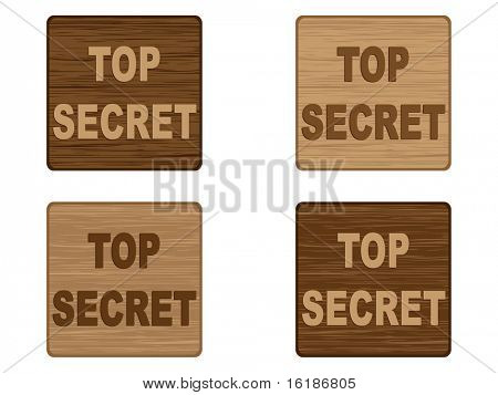 (raster image of vector) top secret badge