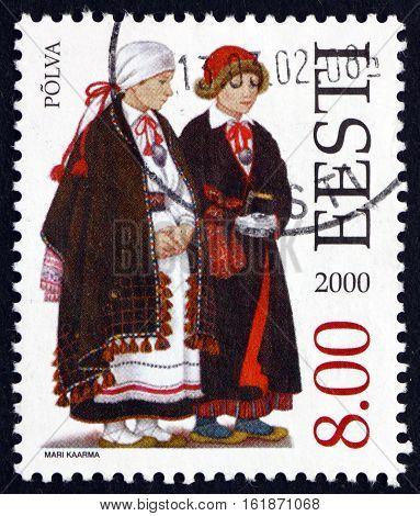 ESTONIA - CIRCA 2000: a stamp printed in Estonia shows Folk Costume Polva circa 2000