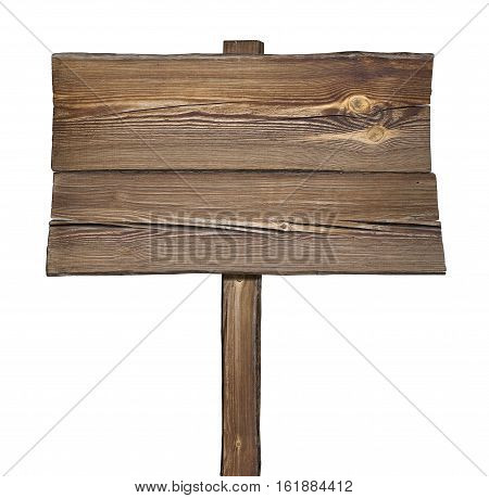 Wooden rustic signpost isolated on white background.