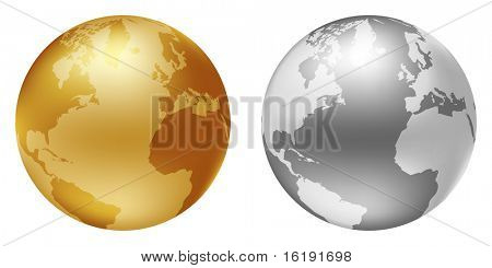 world globe silver and golden color