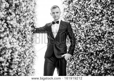 Portrait of confident bridegroom standing amidst flower decorations