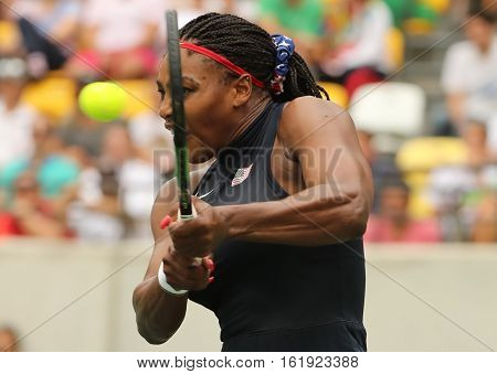 RIO DE JANEIRO, BRAZIL - AUGUST 7, 2016: Olympic champion Serena Williams of United States in action during singles first round match of the Rio 2016 Olympic Games at the Olympic Tennis Centre