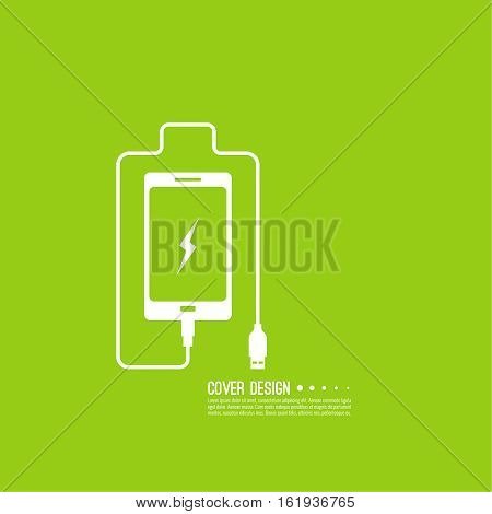 Abstract background with charge mobile phones. usb cable is connected to the smartphone. The concept  power charging. Vector. Battery