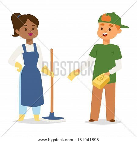 Cleaners people vector character domestic uniform. Friendly cleaner dressed in work clothes with mop. Housework worker with professional equipment. Housekeeper hygiene woman.