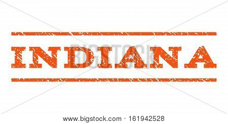 Indiana watermark stamp. Text tag between horizontal parallel lines with grunge design style. Rubber seal stamp with unclean texture. Vector orange color ink imprint on a white background.