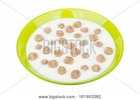 Green Glass Bowl With Yogurt And Extruded Rye Bran