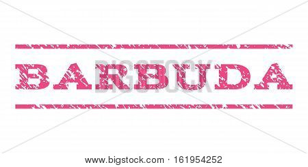 Barbuda watermark stamp. Text tag between horizontal parallel lines with grunge design style. Rubber seal stamp with dirty texture. Vector pink color ink imprint on a white background.