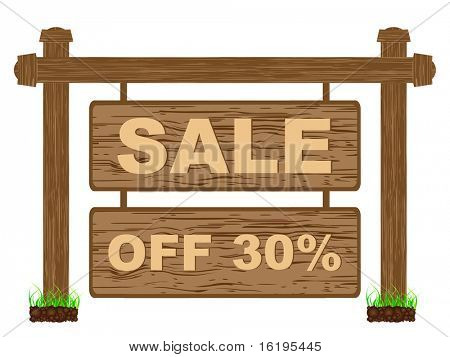 (raster image of vector) advertising banner for sales thirty percent discount