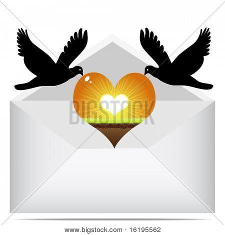 (raster image of vector) love letter