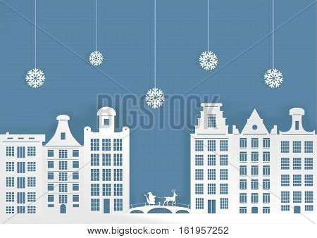 Christmas illustration. City in the snow and Santa Claus on a sledge.
