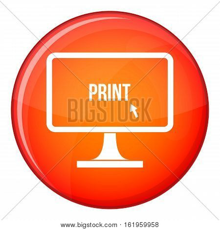 Print word on a computer monitor icon in red circle isolated on white background vector illustration
