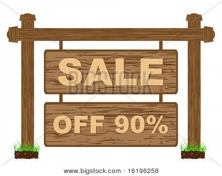 (raster image of vector) advertising banner for sales ninety percent discount