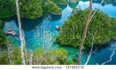 Bamboo Hut in Mangrove near Warikaf Homestay, Kabui Bay and Passage. Gam Island, West Papuan, Raja Ampat, Indonesia.