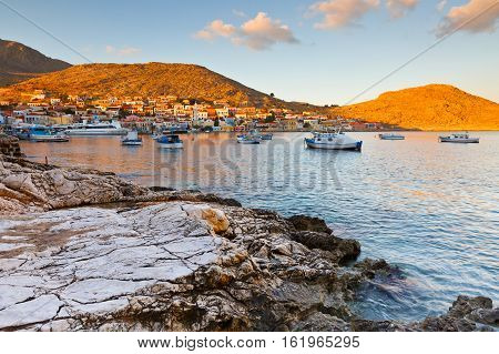 View of Halki village and its harbor, Greece.
