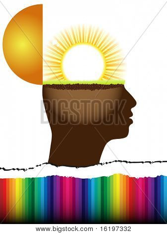 (raster image) open mind with sun inside
