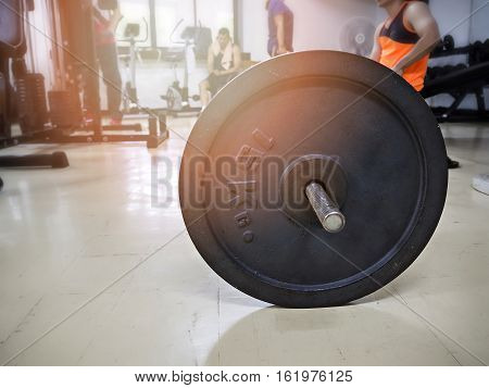 15 Kg. barbell in the gym, healthy concept