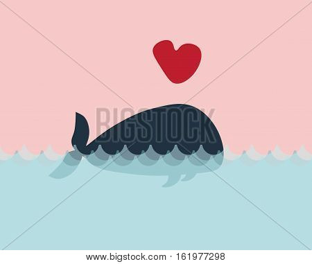 Greeting card with a whale in love. Valentines day vector background with copy place