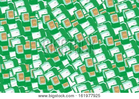 Green SIM cards for mobile phones. Background