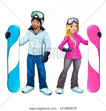 Snowboarders boy and girl. Vector isolated cartoon characters