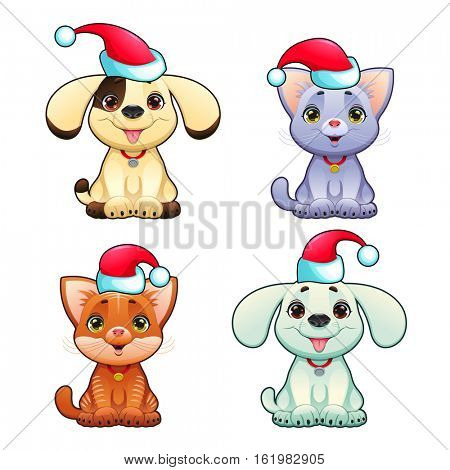 Funny Christmas dogs and cats. Vector isolated animals.