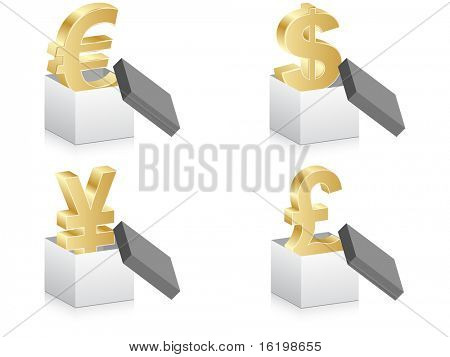 (raster image) open box with currency
