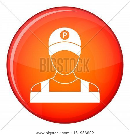 Parking attendant icon in red circle isolated on white background vector illustration