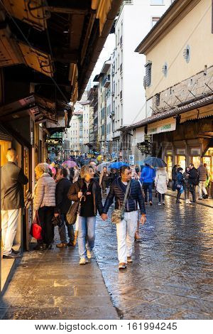 People In Shopping Area On Ponte Vecchio In Autumn