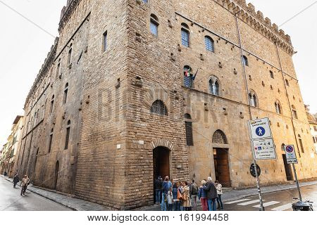Tourists In Line In Bargello Palace In Florence