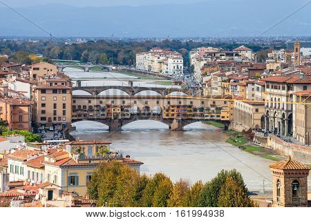 Above View Of Ponte Vecchio In Florence