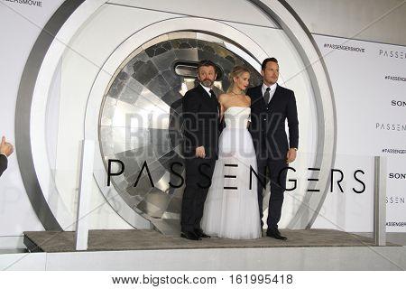 LOS ANGELES - DEC 14:  Michael Sheen, Jennifer Lawrence, Chris Pratt at the