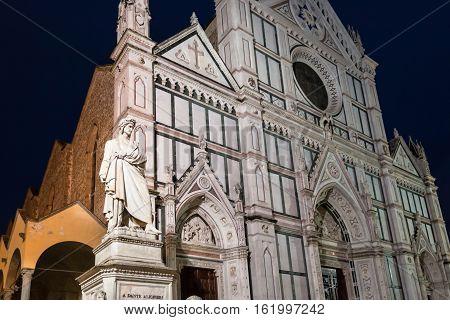 Statue Of Dante And Basilica Santa Croce In Night